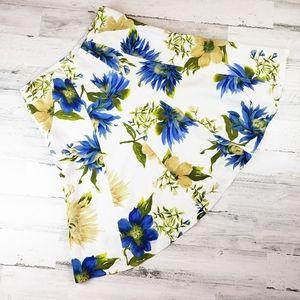 Summer linen skirt floral blue yellow knee 10